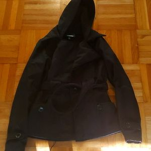 SEBBY black hooded belted jacket Small